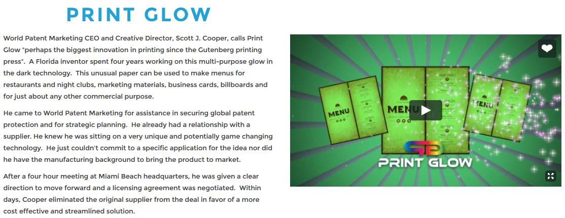 Testimonial blurb for 'Print Glow' on World Patent Marketing website.